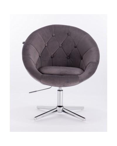 Wypoczynkowy fotel kolor szary BLOM welur - krzyżak chromowany