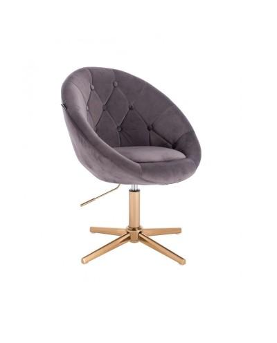 Fotel welur BLOM tapicerowany szary - złoty krzyżak
