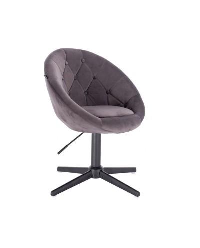 Szary fotel tapicerowany BLOM salon - czarny krzyżak