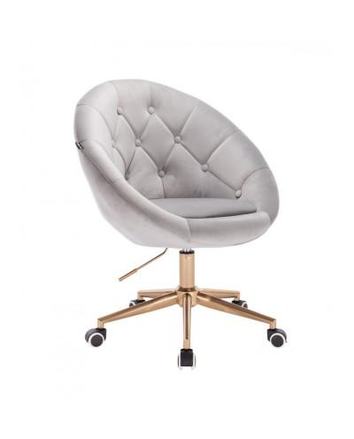 Tapicerowane krzesło BLOM stalowy welur - kółka złoty kolor