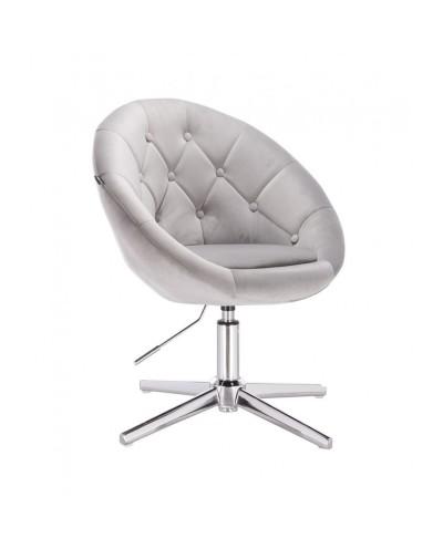 Wypoczynkowy fotel kolor stalowy BLOM - krzyżak chromowany