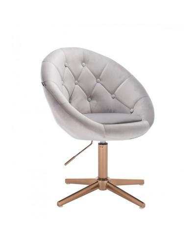 Fotel BLOM tapicerowany welurem stalowy - złoty krzyżak