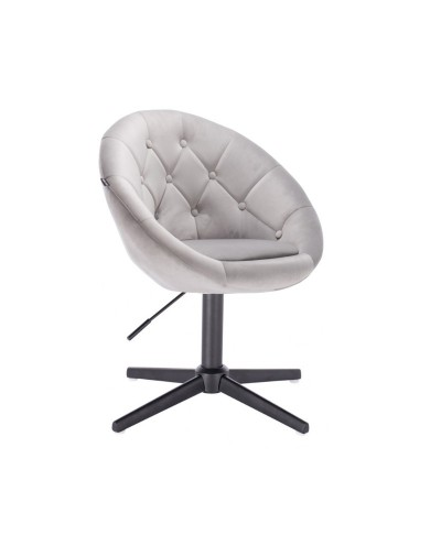 Fotel tapicerka kolor stalowy BLOM welur - czarny krzyżak