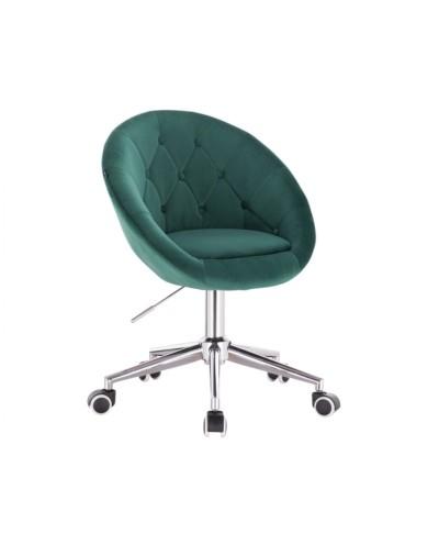 BLOM Krzesło tapicerowane butelkowa zieleń - chromowana podstawa kółka