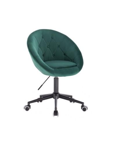 Krzesło welur BLOM butelkowa zieleń - kółka czarne
