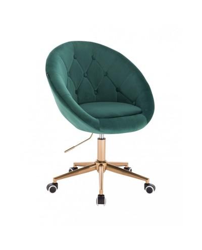 Krzesło obrotowe BLOM butelkowa zieleń - kółka złoty kolor