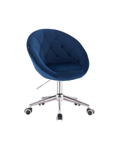 BLOM Krzesło tapicerowane ciemne morze - chromowana podstawa kółka