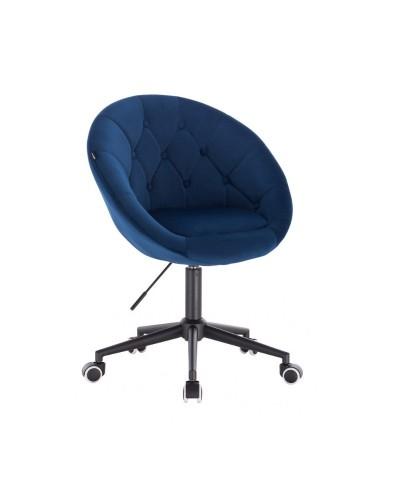 Krzesło welur BLOM ciemne morze - kółka czarne