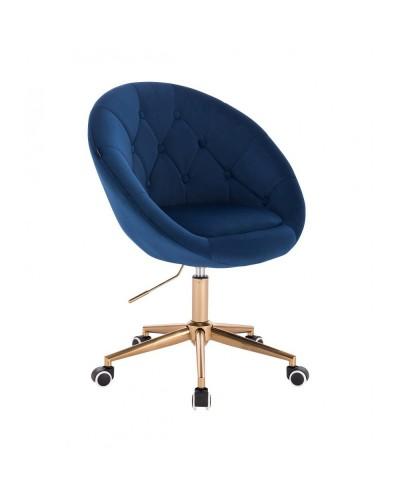 Krzesło obrotowe BLOM ciemne morze - kółka złoty kolor
