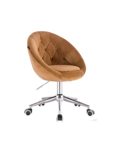 BLOM Krzesło tapicerowane miodowe - chromowana podstawa kółka