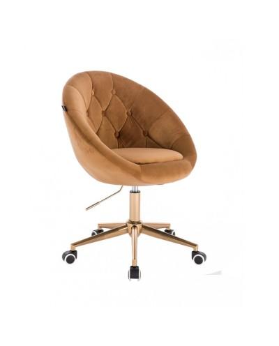 Krzesło obrotowe BLOM miodowe - kółka złoty kolor