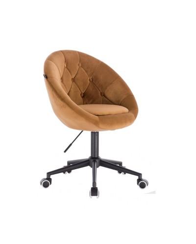 Krzesło welur BLOM miodowe - kółka czarne