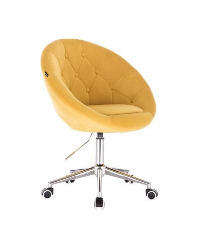 BLOM Żółte krzesło tapicerowane - chromowana podstawa kółka