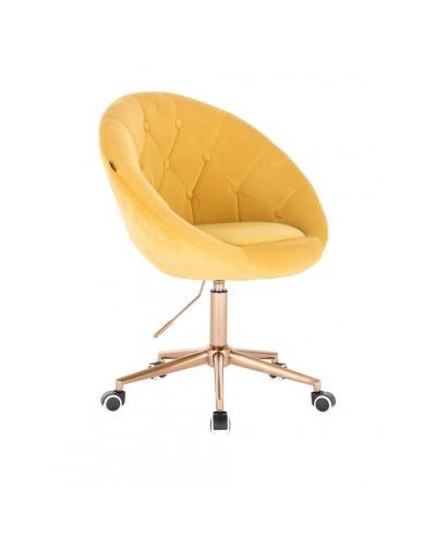 Krzesło obrotowe kolor żółty BLOM - kółka złoty