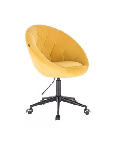 Żółty fotel biurowy BLOM welur - kółka czarne