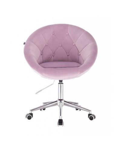 BLOM Krzesło tapicerowane wrzosowe - chromowana podstawa kółka