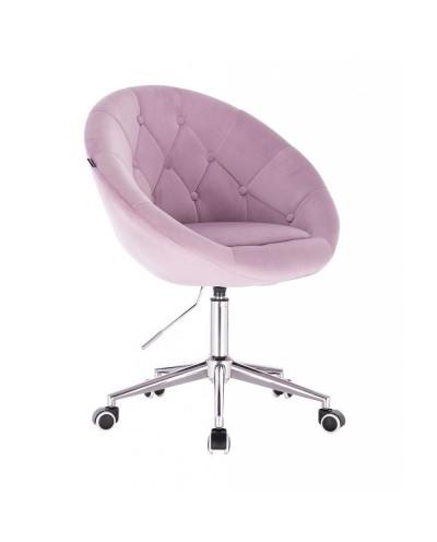 BLOM Krzesło tapicerowane wrzos - chromowana podstawa kółka