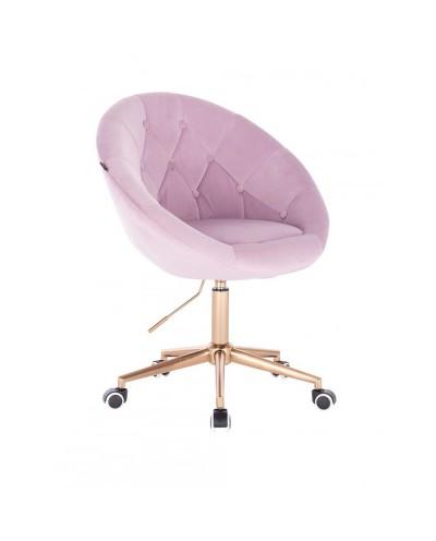 Krzesło obrotowe BLOM wrzosowe - kółka złoty kolor