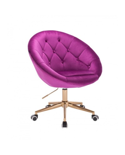 Krzesło obrotowe BLOM fuksja - kółka złoty kolor