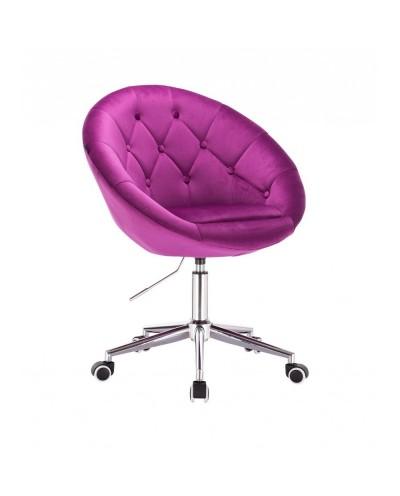 BLOM Krzesło tapicerowane fuksja - chromowana podstawa kółka