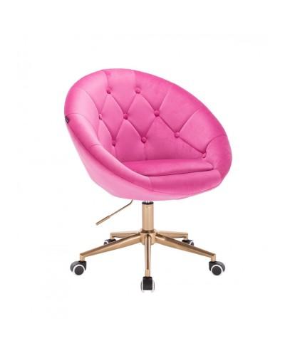 Krzesło obrotowe BLOM malinowy welur - kółka złoty kolor