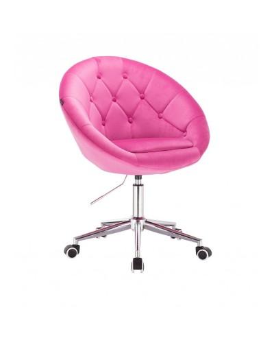 BLOM Krzesło tapicerowane malinowy welur - chromowana podstawa kółka