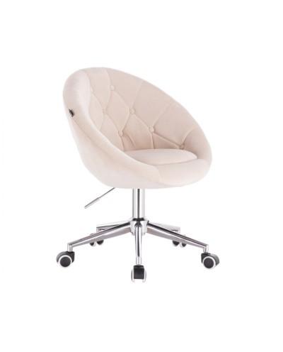 BLOM Krzesło tapicerowane kremowe welur - chromowana podstawa kółka