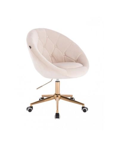 Krzesło obrotowe kremowe BLOM - kółka złoty kolor
