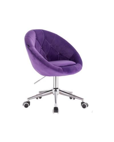 BLOM Fioletowe krzesło tapicerowane - chromowana podstawa kółka