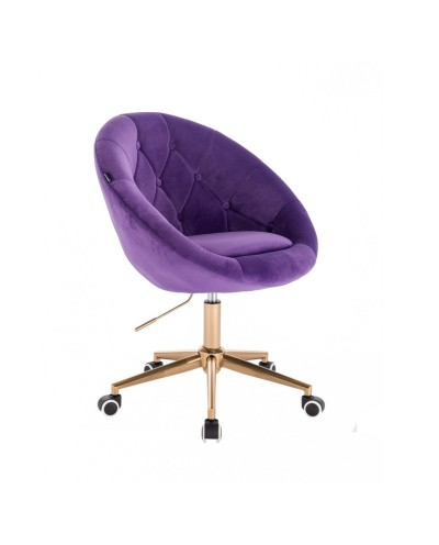 Krzesło obrotowe młodzieżowe kolor fioletowy BLOM - kółka złoty