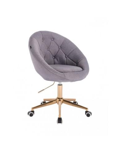Krzesło tapicerowane tkanina kolor szary BLOM - kółka złoty