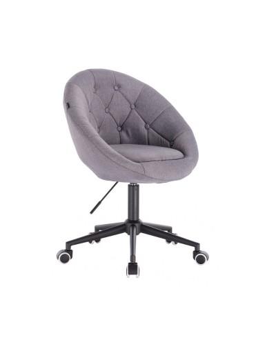 Nowoczesne materiałowe krzesło kolor szary BLOM - kółka czarne