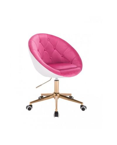 BLOM Nowoczesne krzesło kolor malinowy / biały - kółka złoty