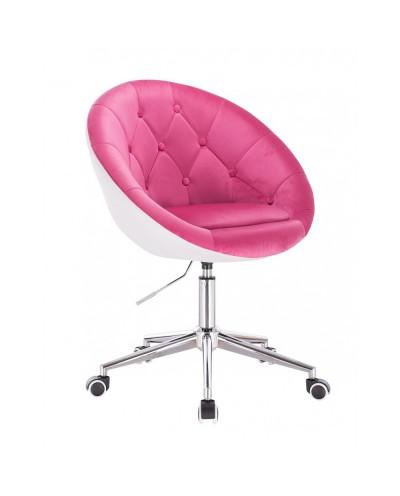 BLOM Nowoczesne krzesło kolor malinowy / biały - chromowane kółka
