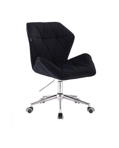 Czarne krzesło tapicerowane CRONO - kółka chrom