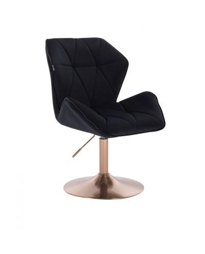 Wygodny fotel wypoczynkowy CRONO czarny - złoty dysk