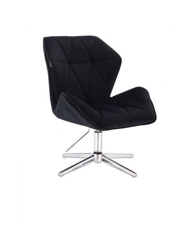 Fotel gabinetowy CRONO czarny do gabinetu - krzyżak chrom