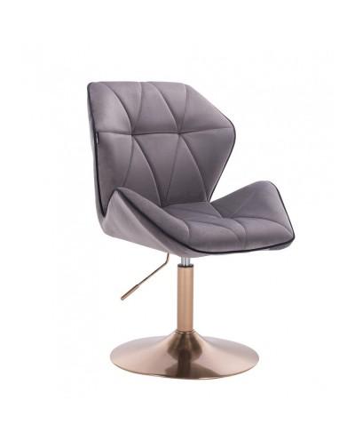 Wygodny fotel z oparciem CRONO welur grafitowy - złoty dysk