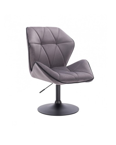 Krzesło do jadalni CRONO do stołu welur grafitowy - czarny dysk