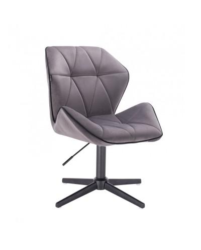 Krzesło do salonu CRONO welur grafitowy - czarny krzyżak