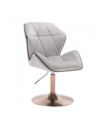 Wygodny fotel z oparciem CRONO welur stalowy - złoty dysk