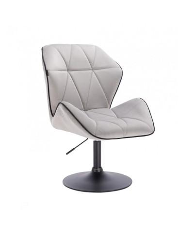 Krzesło do jadalni CRONO do stołu welur stalowy - czarny dysk