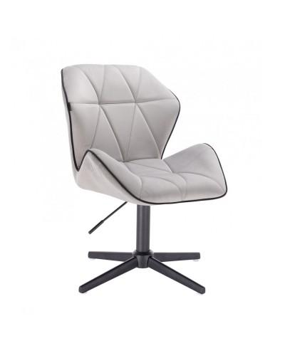 Krzesło do salonu CRONO welur stalowy - czarny krzyżak