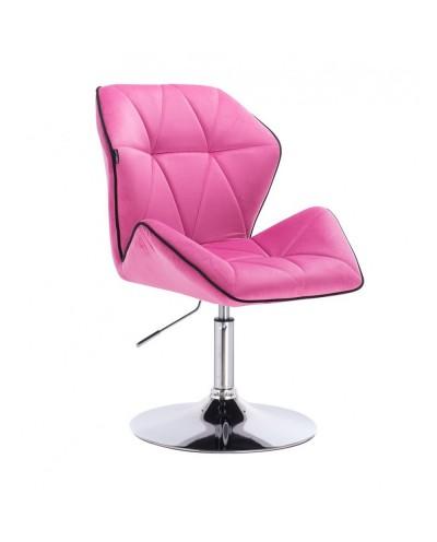 Fotel wypoczynkowy do domu CRONO malinowy - dysk chrom