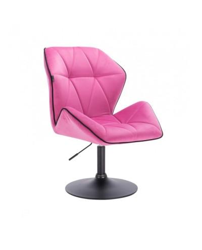 Krzesło do jadalni CRONO do stołu welur malinowy - czarny dysk