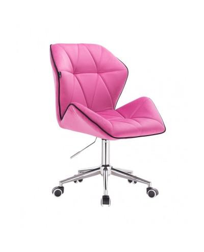 Krzesło z oparciem tapicerowane CRONO malinowy welur - kółka chrom