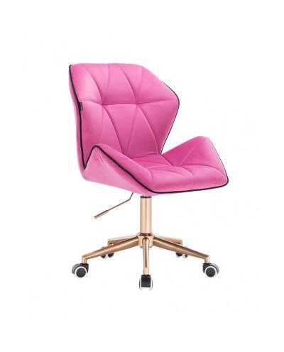Krzesło biurowe CRONO obrotowe malinowy welur - złote kółka
