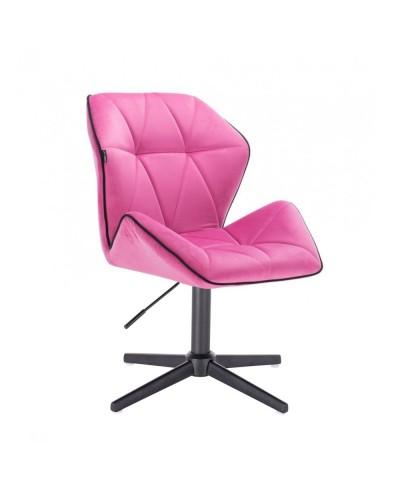 Krzesło do salonu CRONO welur malinowy - czarny krzyżak