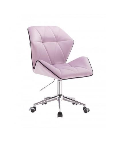 Krzesło z oparciem tapicerowane CRONO wrzosowy welur - kółka chrom