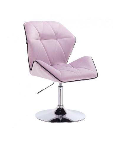 Fotel wypoczynkowy do domu CRONO wrzosowy - dysk chrom